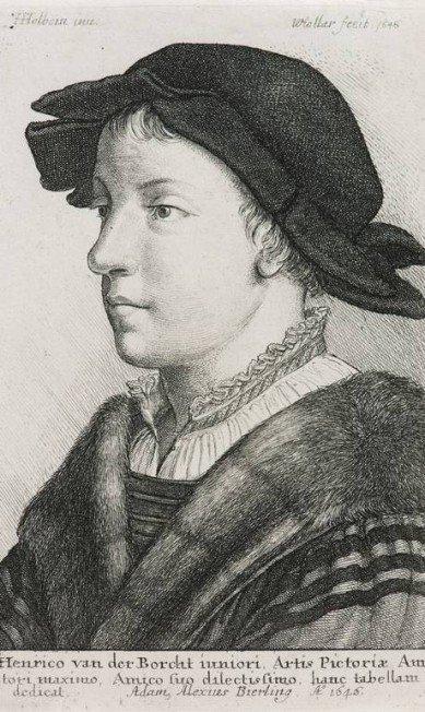 'Henrico van der Borcht' (1646), do desenhista H. Holbein e gravador Wenzel Hollar (1607 1677)