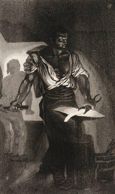 'Le Forgeron' (1833), de Eugène Delacroix (1798-1863) - Água Tinta