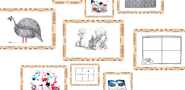 Mix de arte contemporânea em suporte papel.