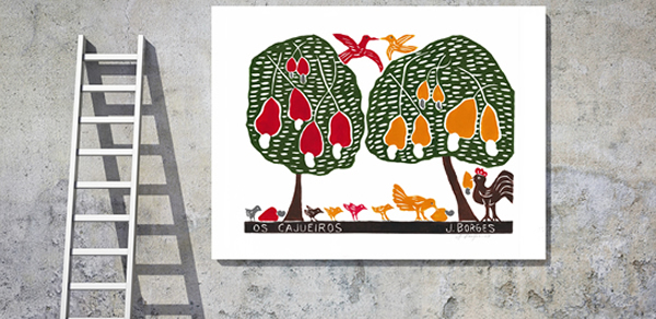 Gravuras decorando o ambiente do artista J.Borges
