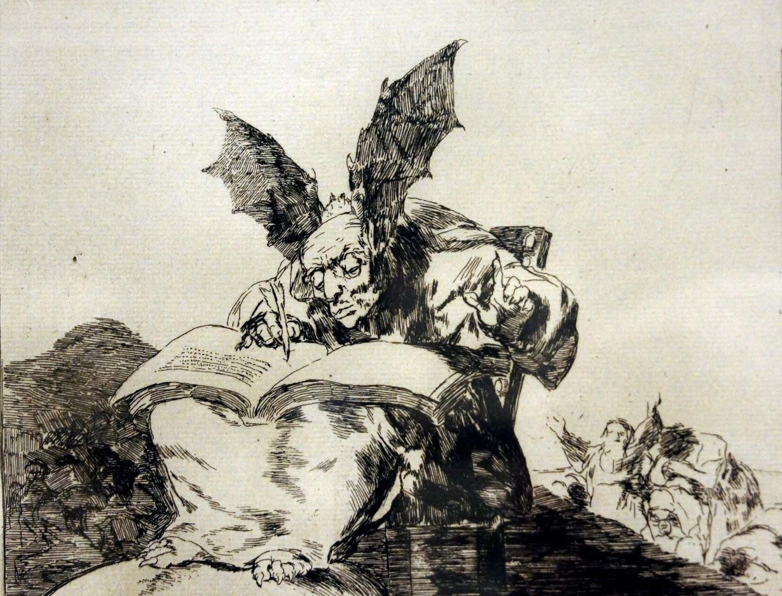 Exposição de gravura com obras do artista Goya.