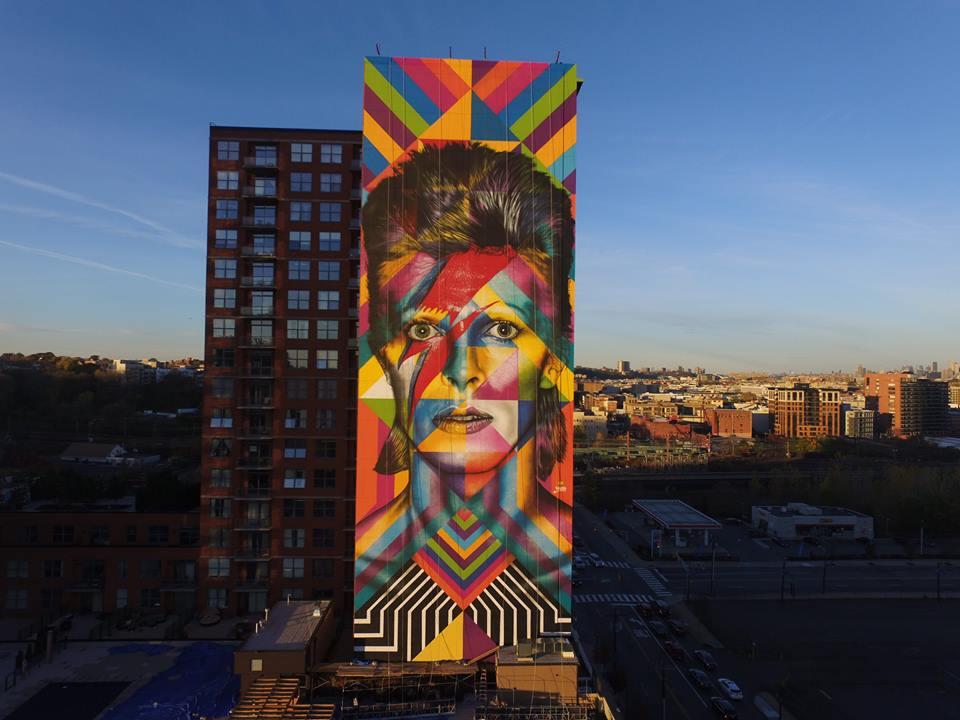 Grafite de Eduardo Kobra - Homenagem a David Bowie nos EUA