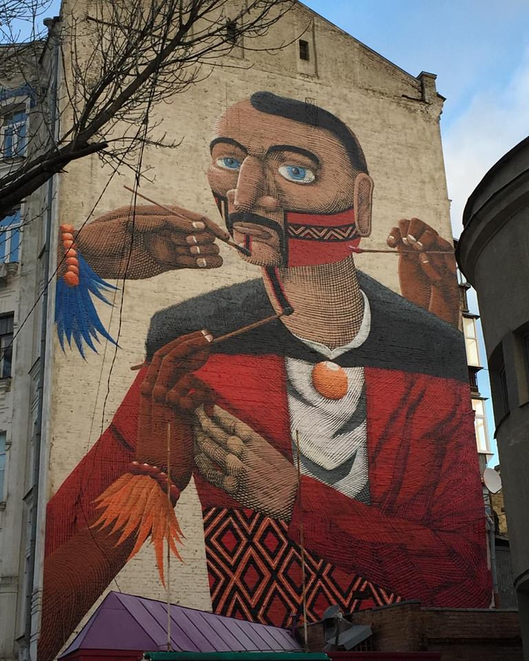 Grafite do Nunca mural em Kiev