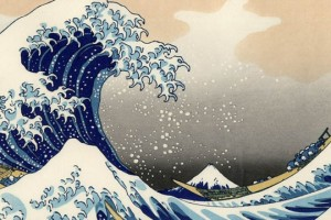 Obra do artista japonês Kanagawa na técnica de Moku-Hanga
