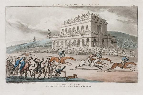 Doctor Syntax Thomas Rowlandson (1756 – 1827) Editor Rudolf Ackermann Publicada na revista Repository of Arts 1821 Água-forte e água-tinta colorida à mão  19,3 x 23 cm (papel) 14,7 x 12,5 cm (mancha)